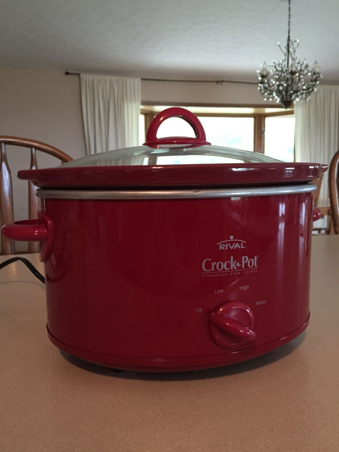 I use my full-size crock pot to make the chicken stock.